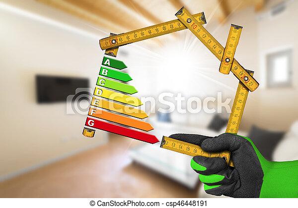 hus, energi, -, effektivitet, form, linjal - csp46448191