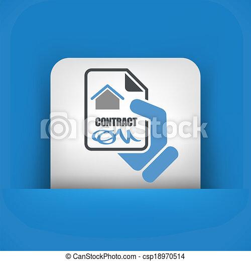 hus, kontrakt, ikon - csp18970514