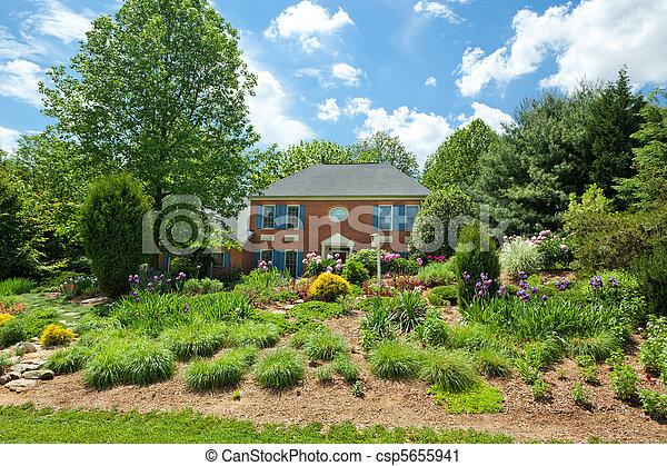 hus, landscaped, trädgård, ensam släkt, hem, blomma - csp5655941