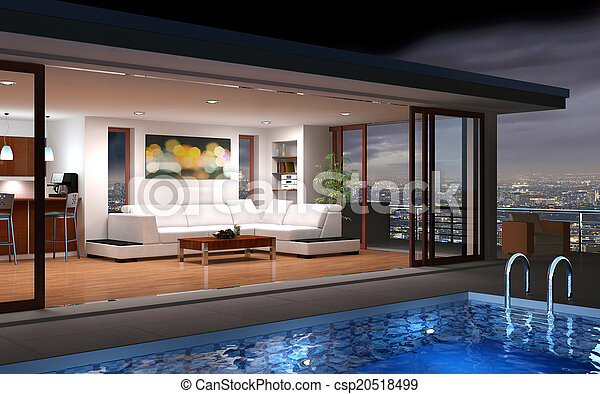 hus, nymodig, slå samman - csp20518499