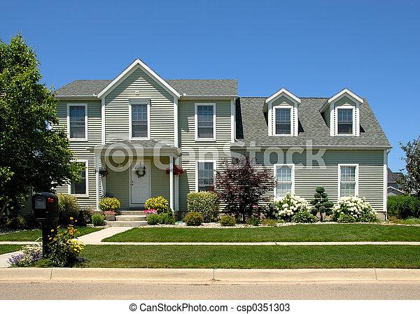 hus, sommar - csp0351303