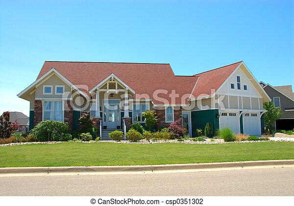hus, stil, hantverkare, sommar - csp0351302