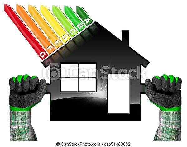 hus, symbol, -, effektivitet, form, energi - csp51483682