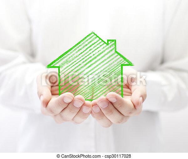 hus, teckning, räcker - csp30117028