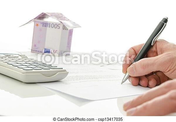 hus, underteckna, försäljning, avtal - csp13417035
