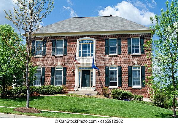 hus, usa, förorts-, ensam släkt, md, hem, tegelsten - csp5912382