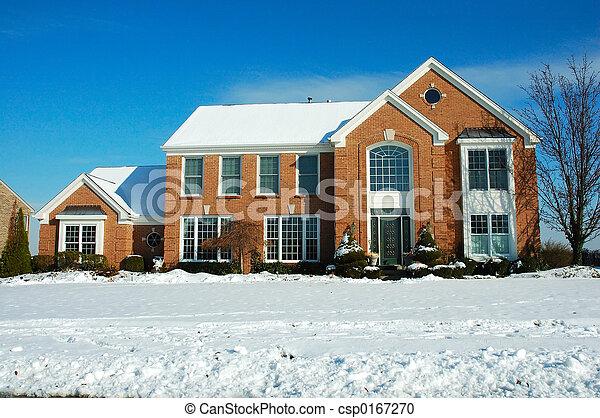 hus, vinter - csp0167270
