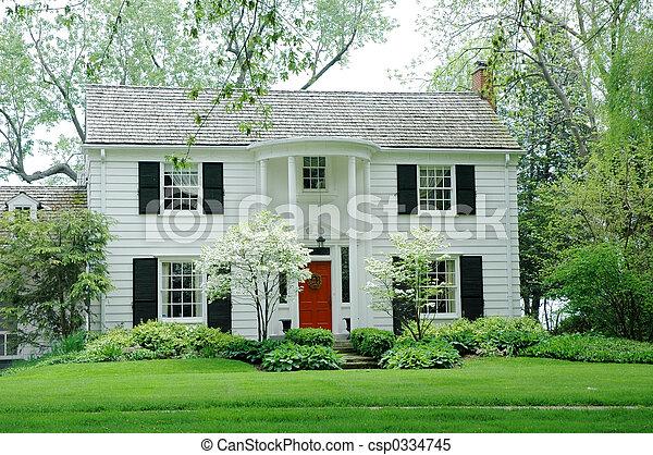 hus, vit - csp0334745