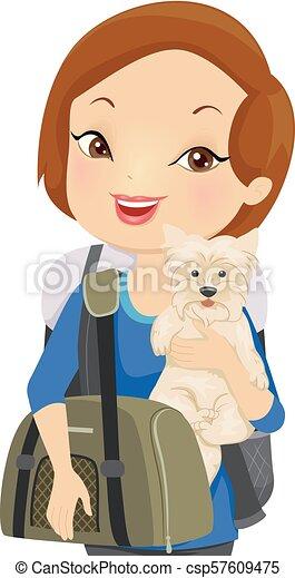 husdjuret, flicka, bärare, resa, illustration - csp57609475