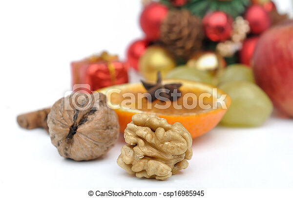 husked nuts and other fruits and spice for celebrations - csp16985945