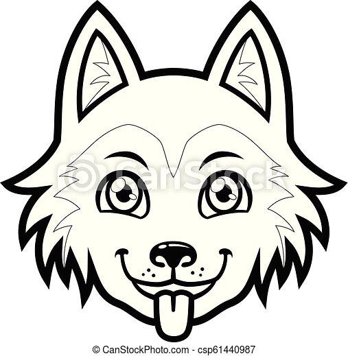 Husky Dog Head Vector Cartoon Bw