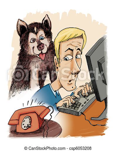husky dog his owner and phone calling - csp6053208