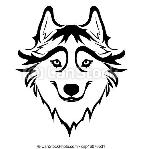 Sketch of siberian husky hand drawn portrait of dog vector illustration