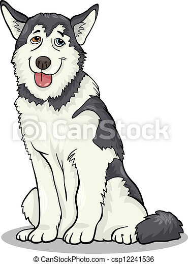 Husky Or Malamute Dog Cartoon Illustration Cartoon Illustration Of