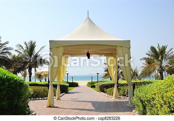 Hut at recreation area of luxury hotel, Dubai, UAE - csp8283226