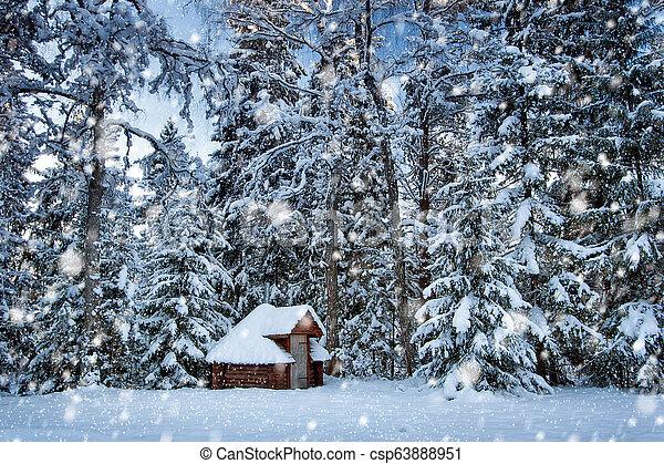 Hut in snowy forest - csp63888951