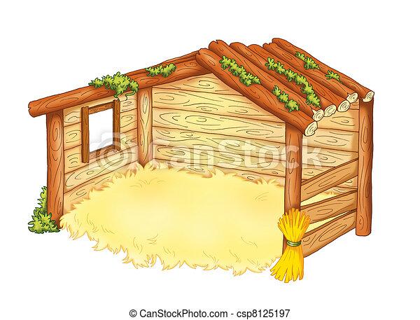 colored illustration of the hut of the manger rh canstockphoto com manager clip art manger clip art free