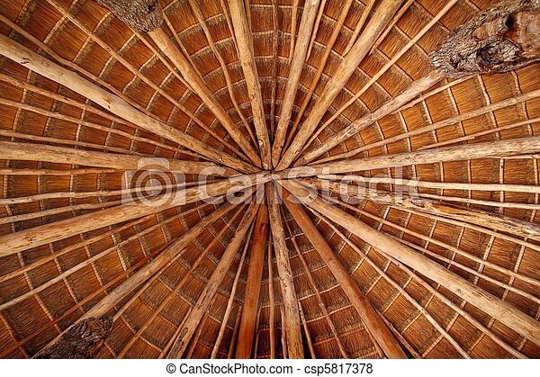 Hut palapa traditional sun roof wiev from above - csp5817378
