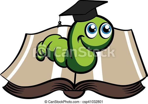 Bücherwurm clipart  Vektor Clipart von hut, vektor, grün, bücherwurm - Vector, grün ...
