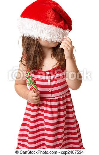 hut, weihnachten, santa, kind - csp2407534