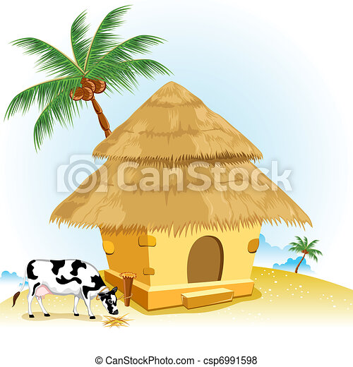 Hut with Cow - csp6991598