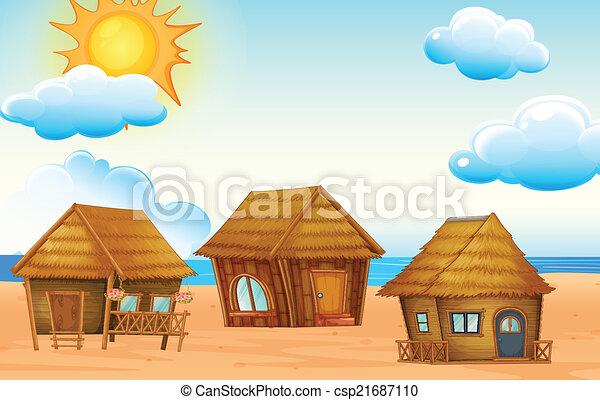 Huts on beach - csp21687110