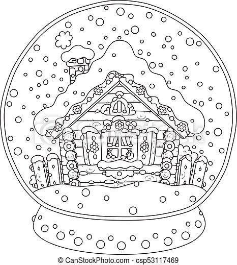 Hutte Boule Quartz Neige Couvert Noël