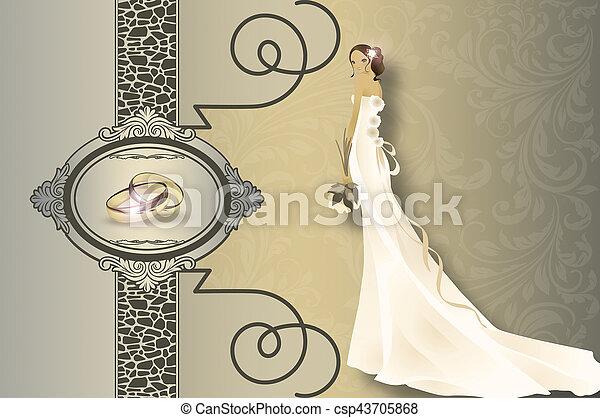 huwelijk uitnodiging, kaart, design. - csp43705868