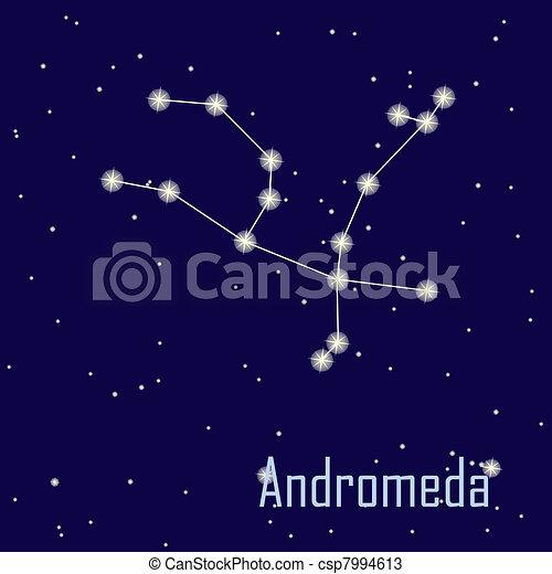 """"""", hvězda, sky., ilustrace, andromeda"""", vektor, večer, souhvězdí - csp7994613"""
