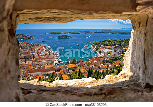 Hvar bay aerial view through stone window - csp38103293