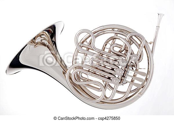 hvid, isoleret, fransk horn - csp4275850