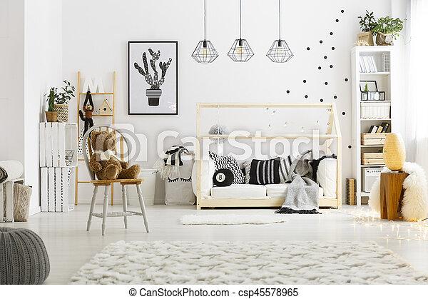 Hvid, soveværelse, barn, gulvtæppe. Gulvtæppe, stol, seng,... stock ...