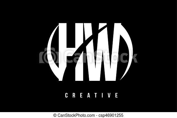 Hw H W White Letter Logo Design With Black Background Hw H W White
