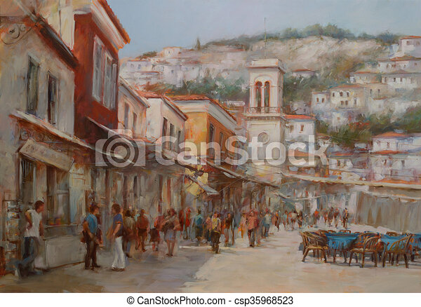 Hydra island,handmade paintings - csp35968523