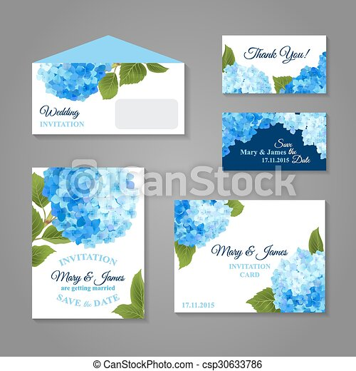 hydrangea invitations set wedding invitation cards set with