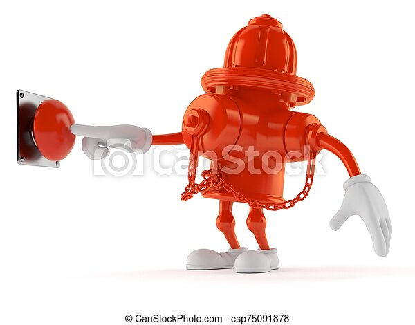 Hydrant character pushing button on white background - csp75091878