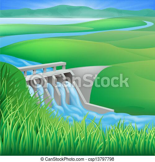 Hydro dam water power energy illust - csp13797798