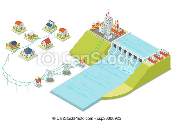 Hydro power plant. 3D isometric electricity concept - csp36086923