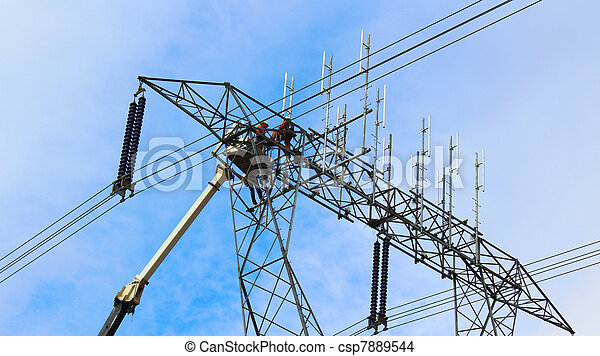 Hydro Workers Working On Power Line - csp7889544