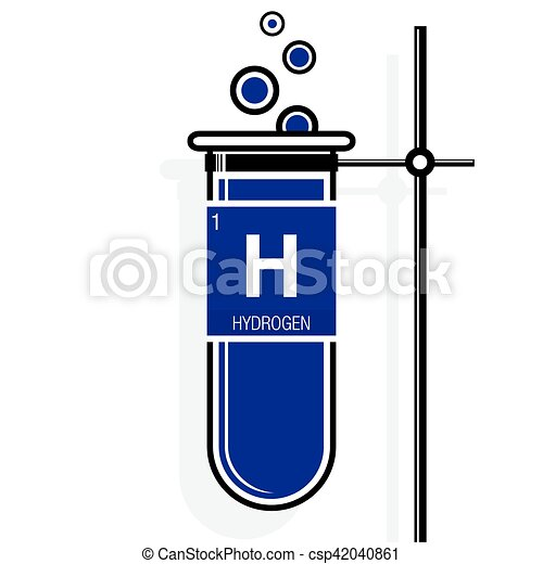 Hydrogen symbol on label in a violet test tube with holder clip hydrogen symbol on label in a violet test tube with holder element number 1 of urtaz Gallery