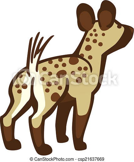 young hyena or cub standing alert rear facing viewer clip art vector rh canstockphoto com baby hyena clipart