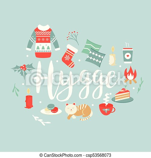 Hygge background with cozy things and elements danish living hygge background with cozy things and elements danish living concept greeting card template m4hsunfo