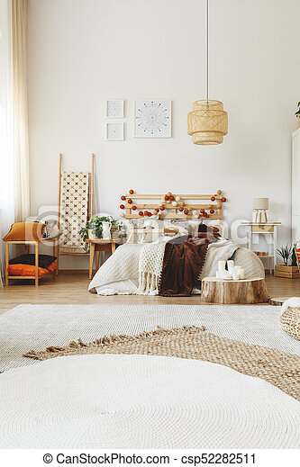 hygge, style, moderne, chambre à coucher