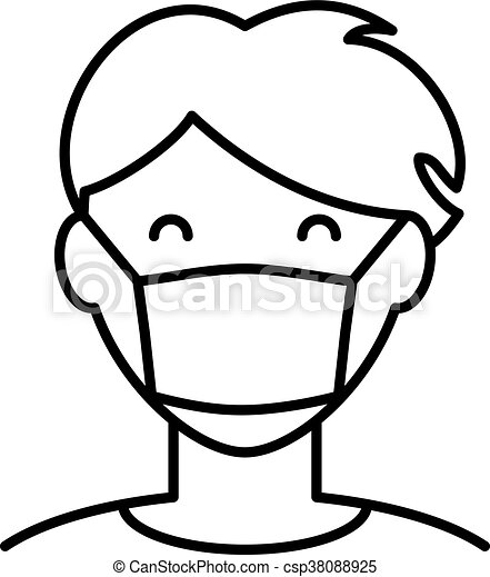 Hygiène Homme Masque Icône Figure Virus Personne Simple