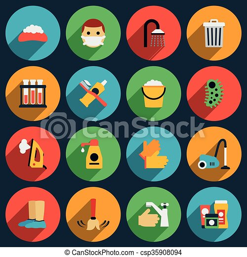 hygiene and sanitation vector flat icons set hygiene clean icon
