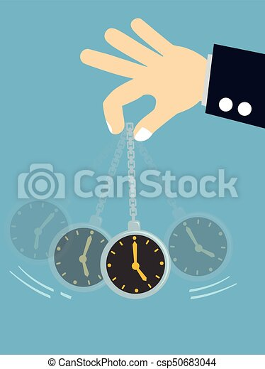 Hypnosis concept - Businessman hand holding a pocket watch and swinging - csp50683044
