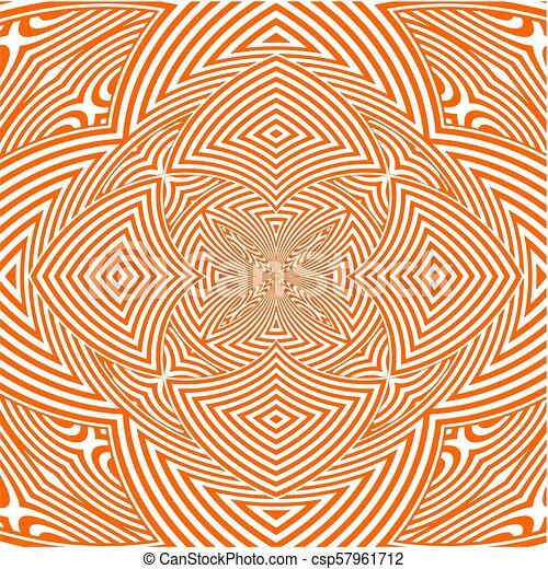 Hypnotic Orange Flower Stripe... - csp57961712