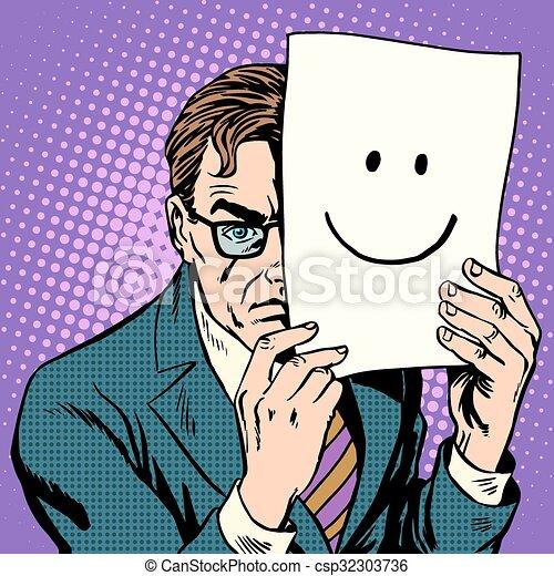 Hypocrisy stealth sullen man and smile - csp32303736