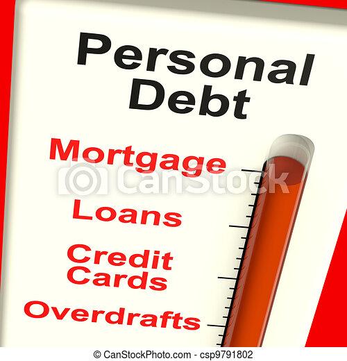 hypothèque, personnel, projection, mètre, dette, prêts - csp9791802