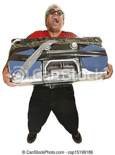 Hysterical Man with Boom Box - csp15199186